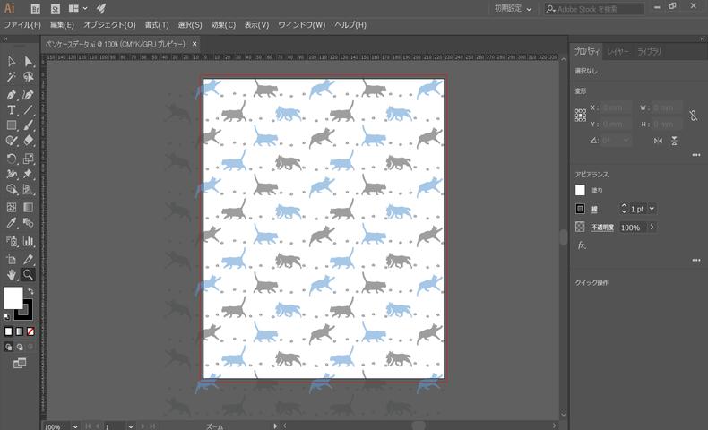 Illustratorで作成したペンケースのためのデータ。これをUVプリンタで印刷していく。